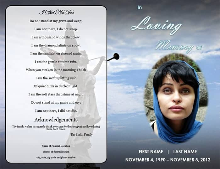 Word Templates  Free Obituary Program Template