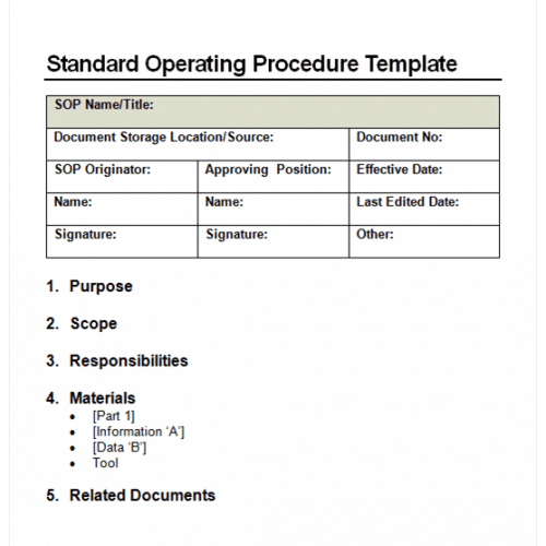 9 Standard Operating Procedure SOP Templates Word Excel PDF – Free Standard Operating Procedure Template Word