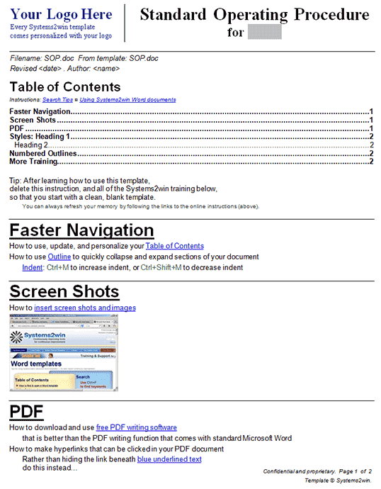 SOP Template| SOP Format | All Form Templates