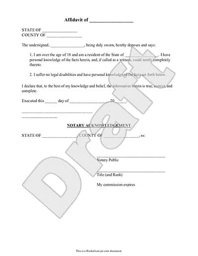 Captivating Word Templates  Affidavit Template Free