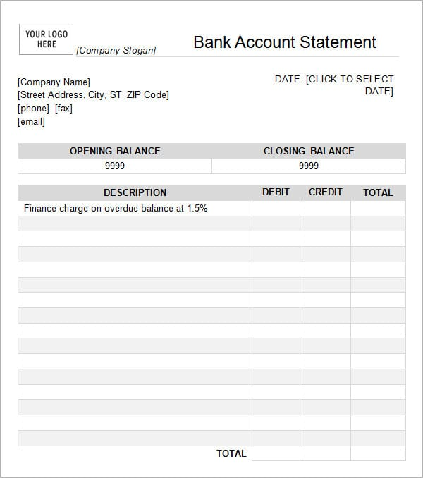 7 Bank statement templates Word Excel PDF Formats – Sample Bank Statement