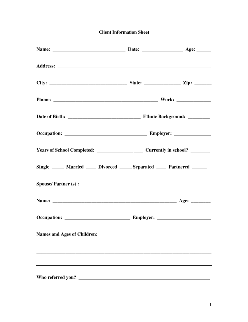 Word Templates  Information Form Template Word