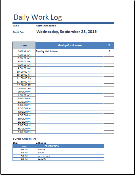 Daily work log templates - Word Excel PDF Formats