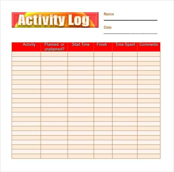 Activity Log Template Excel July Calendar 2017 – Activity Log Template