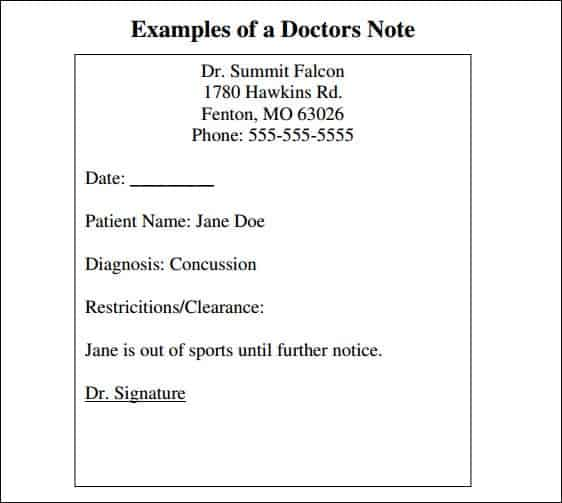 Work Excuse Template Free Printable Doctors Excuse Free Doctor