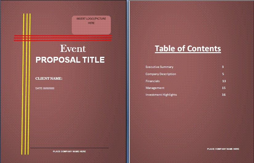 Word Templates  Proposal For Event