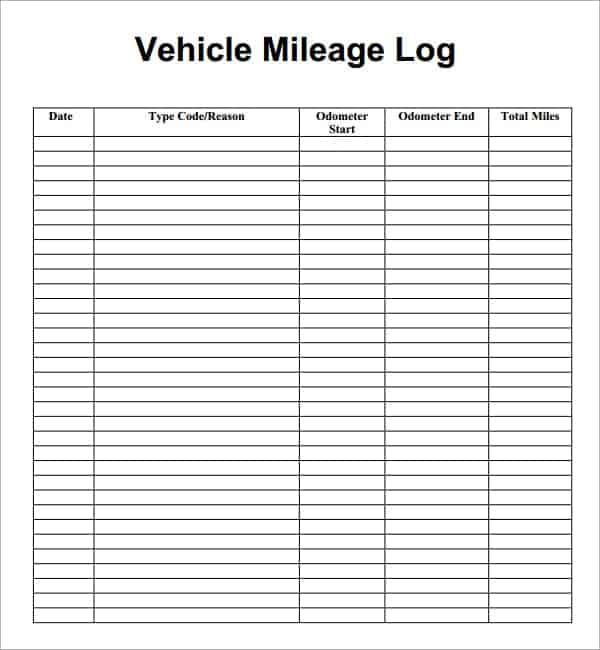 7+ Vehicle mileage log Templates - Word Excel PDF Formats