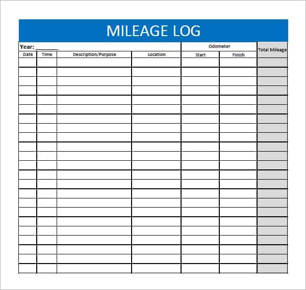 Stupendous image with free printable mileage log