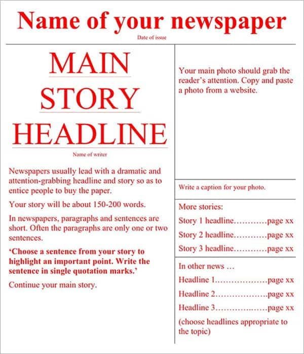 9  newspaper templates