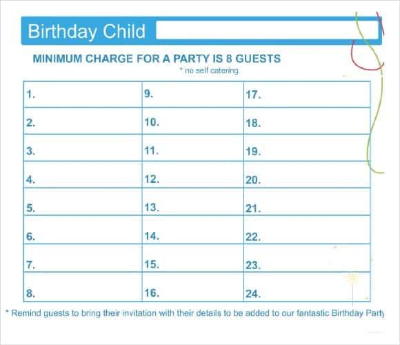party guest list image 1