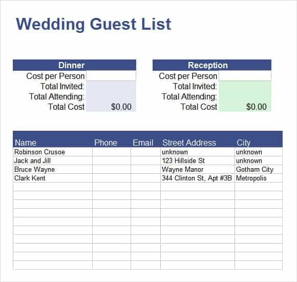 10 Party Guest List Example - SampleTemplatess ...