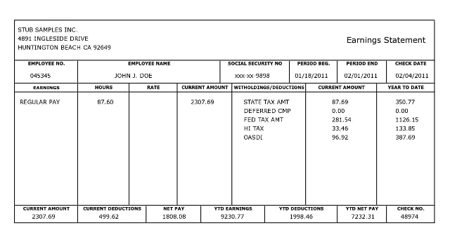 10 Pay Stub Templates Word Excel PDF Formats – Payroll Stubs Templates