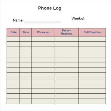 10+ Phone log Templates