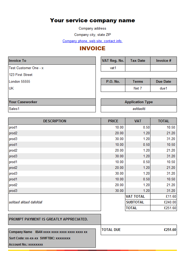 service invoice sample archives - word templates, Invoice templates