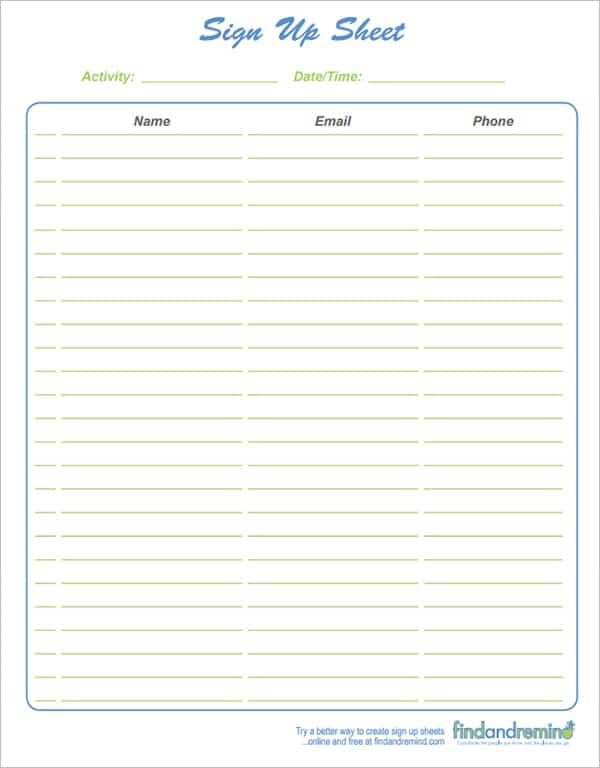 9+ Sign Up Sheet Templates - Word Excel Pdf Formats