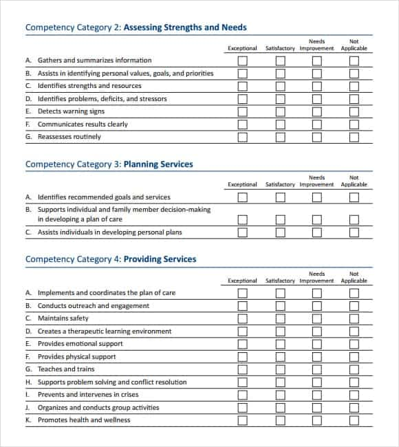 12 Skills assessment templates Word Excel PDF Formats – Competency Assessment Template