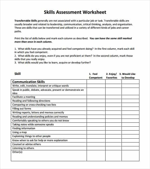 12+ Skills assessment templates - Word Excel PDF Formats