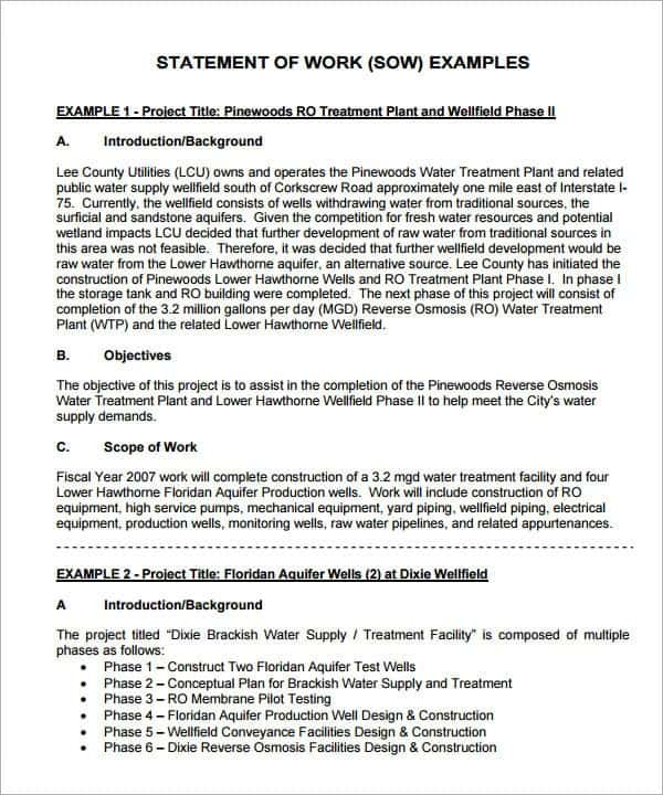 8 statement of work templates word excel pdf formats
