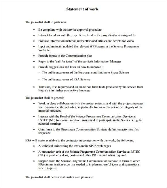 statement of works template 8 statement of work templates word excel pdf formats