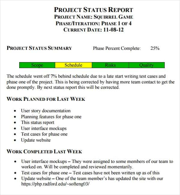 Weekly Status Report Template | 7 Weekly Status Report Templates Word Excel Pdf Formats