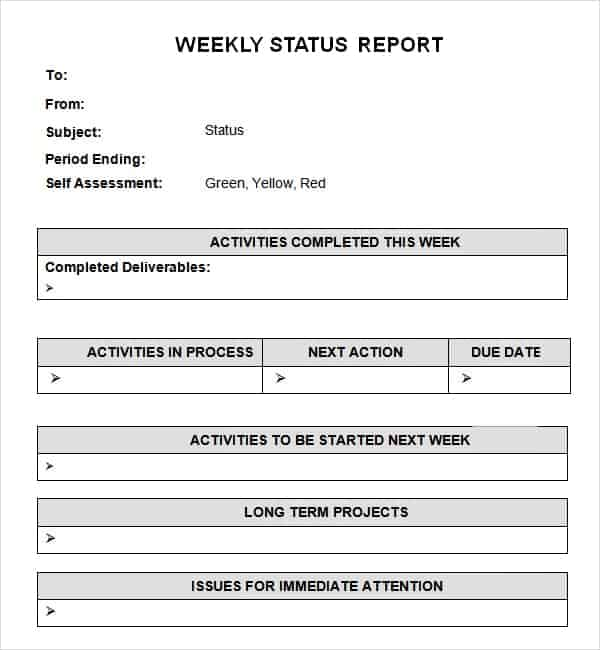 Word Templates  Project Status Report Excel