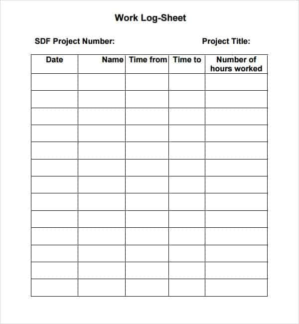 7 Work log templates Word Excel PDF Formats – Weekly Log Template