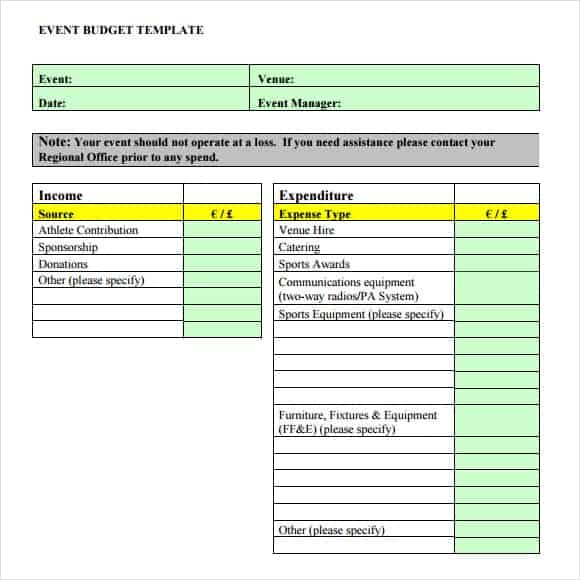 event budget template 5