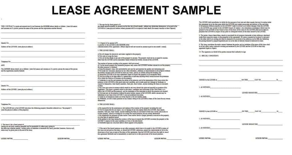 Template Of Rental Agreement  Free Lease Template Word