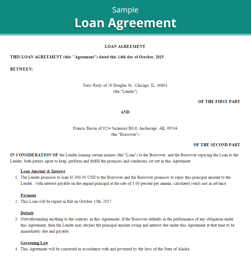 Doc Sample Loan Agreements 5 Loan Agreement Templates to – Loan Template Agreement