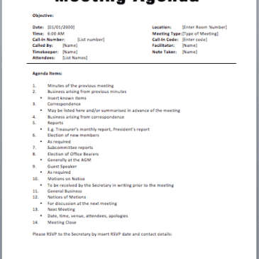 Meeting Plan Template Archives - Word Templates