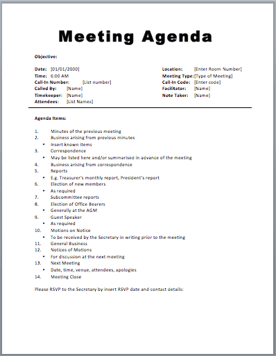 Meeting Agenda Template Word Free