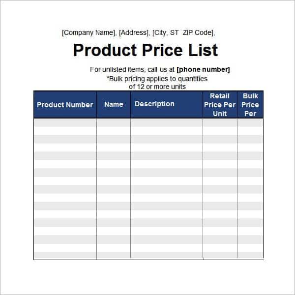 price list template 19