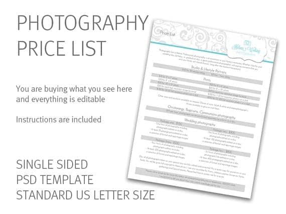price list template 20