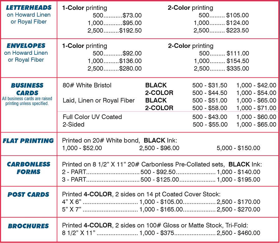 price list template 5