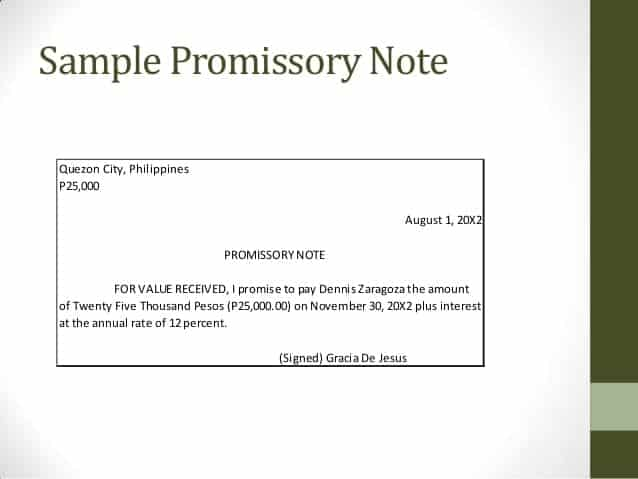 promissory note template 8