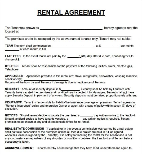 20 Rental Agreement Templates Word Excel PDF Formats – Lease Agreements Sample