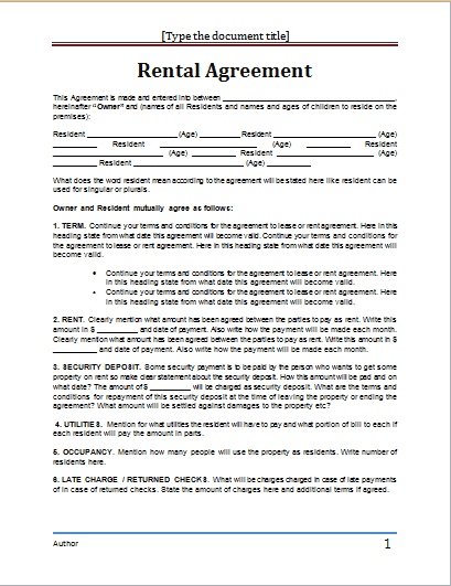 rental agreement template 8