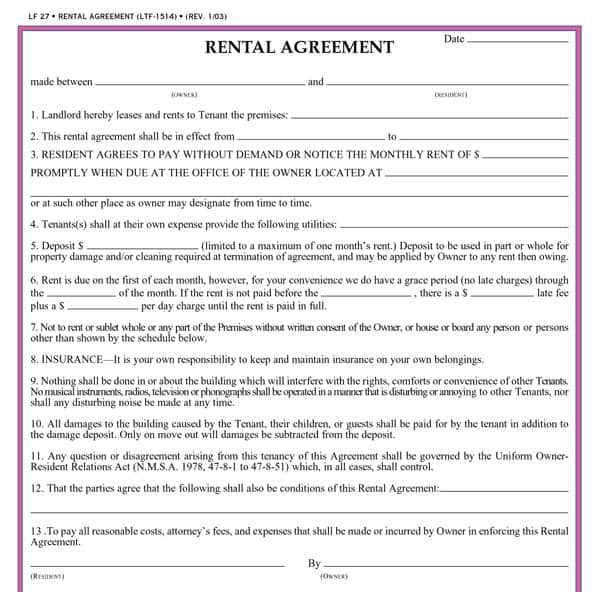 rental agreement template 9