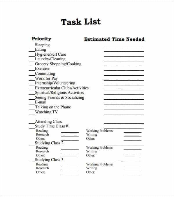 task list template 12