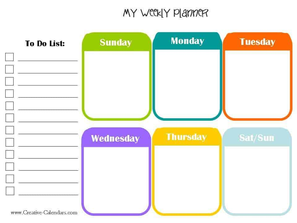 10 weekly planner templates word excel pdf formats for Week by week planner template