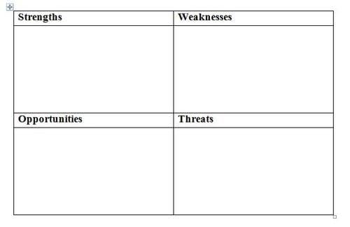 SWOT analysis template 541512