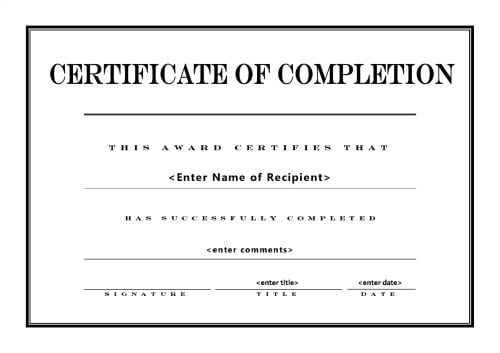 certificate of completion template 541