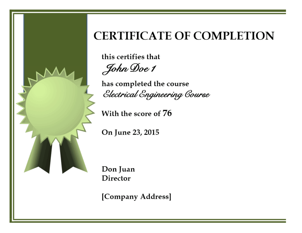 Format of training completion certificate cerescoffee format of training completion certificate yadclub Choice Image