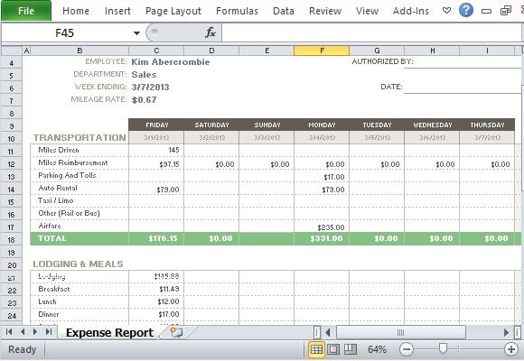 expense report template 54
