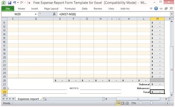 expense report template 641