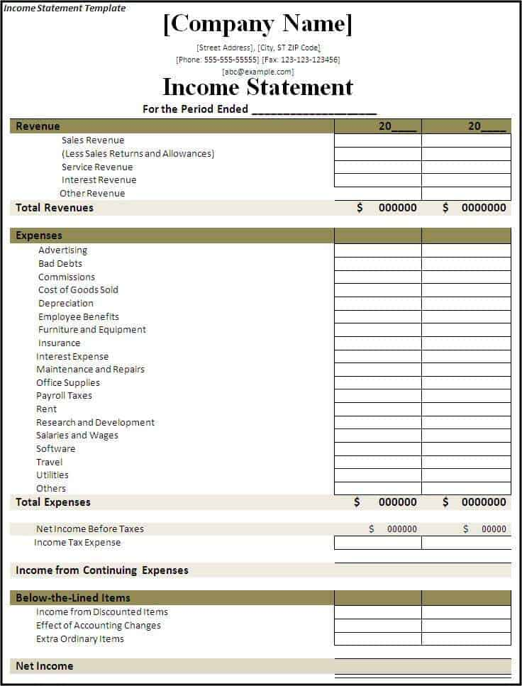 Income Statement Templates  Word Excel  Formats