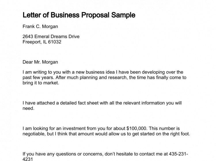Sample Of Proposal Letter from www.getwordtemplates.com