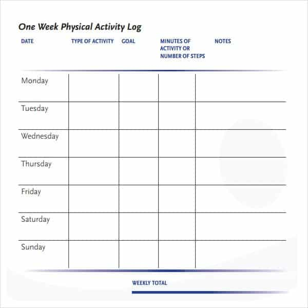 10  daily activity log templates
