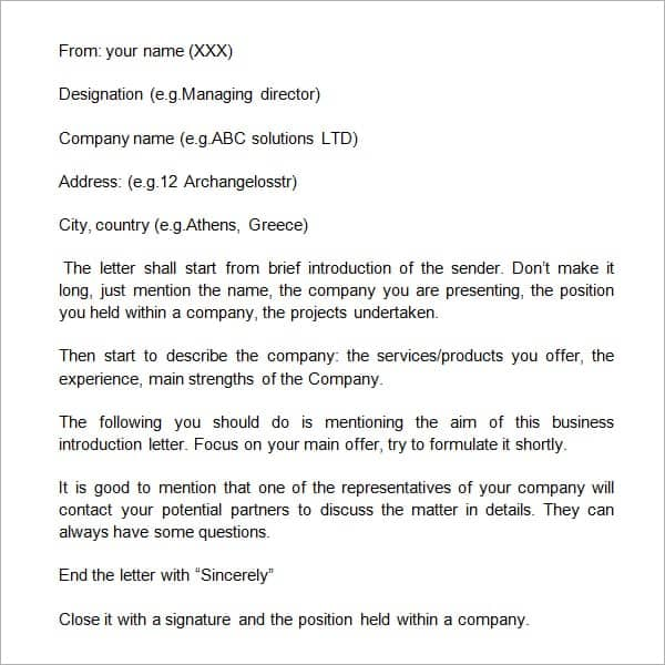 Sample Company Introduction Letter To Clients from www.getwordtemplates.com