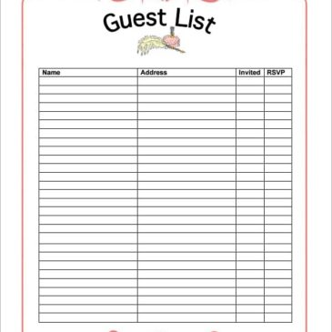 10+ Party guest list templates